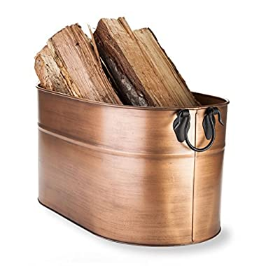 Plow & Hearth Galvanized Steel Firewood Bucket with Wrought Iron Handles 2, 1.75  L x 12.75  W x 11.5  H, Antique Copper