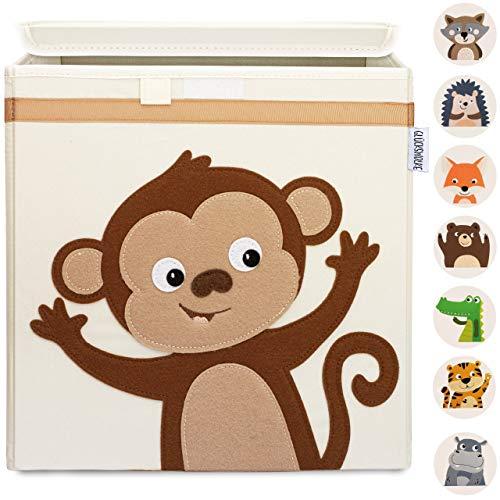 GLÜCKSWOLKE Kinder Aufbewahrungsboxen - 10 Motive I Spielzeugkiste mit Deckel für Kinderzimmer I Spielzeug Box Affe (33x33x33) Aufbewahrung Kallax Regal I Dschungel Aufbewahrungsbox (Kiki Kletteraffe)