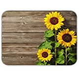 Sunflowers Dish Drying Mats 16x18 Inch Yellow Flower Drying Pad, Autumn Wooden Dry Mat for Kitchen Super Absorbent
