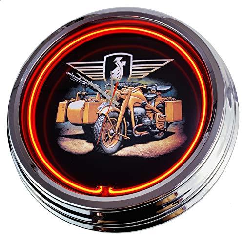 US-Way e.K. Wehrmacht Motorad Orologio da Parete Decorativo, Stile Anni '50, Stile retrò, al Neon, per Sala da Pranzo, Cucina, Salotto, Ufficio, Colore: Arancione, ca.44cm
