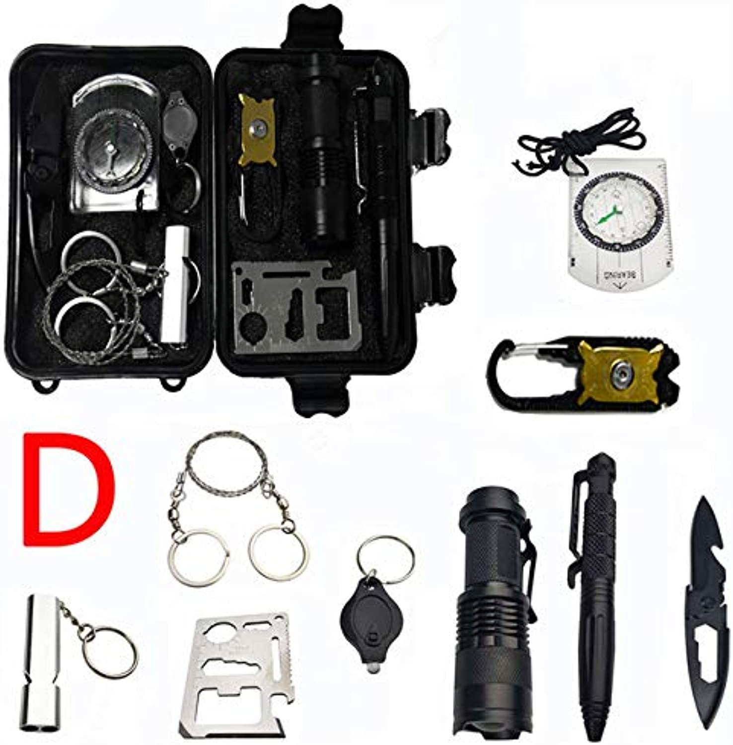 10 in 1 Survival kit Set Outdoor EDC Camping Equipment Travel Multifunction First aid SOS Emergency Supplies Tactical+Slingshot   D