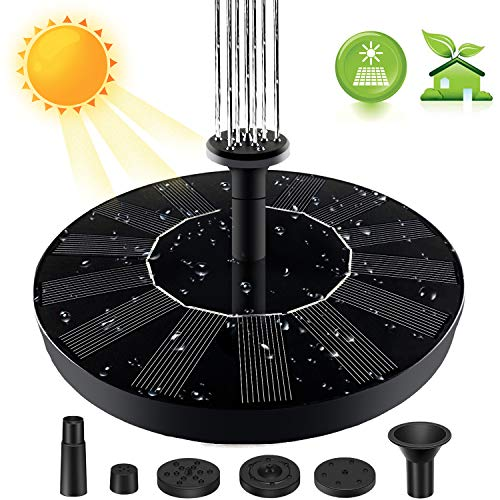 Solar Fountain Pump for Bird Bath, 2020 Upgraded 1.4W Solar Power Fountain Pump for Bird Bath, Solar Bird Bath Fountain for Garden, Patio, Pond, Pool, Fish Tank and Aquarium
