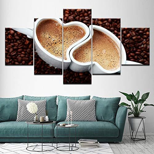 YANGHAOHAO Print canvas tekenen twee kopjes hartvormige koffie 5 stuks muurschildering modulaire behang poster woonkamer decoratie