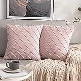 MIULEE 2er-Set Gitter Samt Kissenbezug Falten mit verstecktem Reißverschluss Sofakissen Glänzend Weich Einfarbig Dekokissen für Wohnzimmer Schlafzimmer Cafeteria 50x50 cm, Rosa