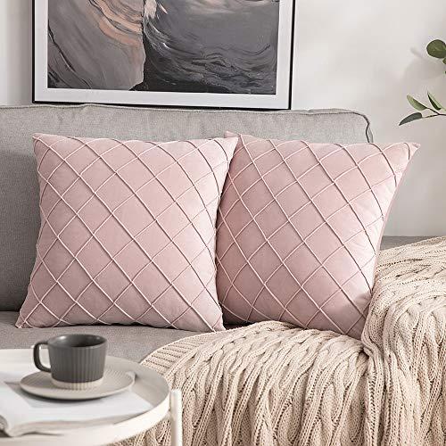 MIULEE 2er-Set Gitter Samt Kissenbezug Falten mit verstecktem Reißverschluss Sofakissen Glänzend Weich Einfarbig Dekokissen für Wohnzimmer Schlafzimmer Cafeteria 45x45 cm, Rosa