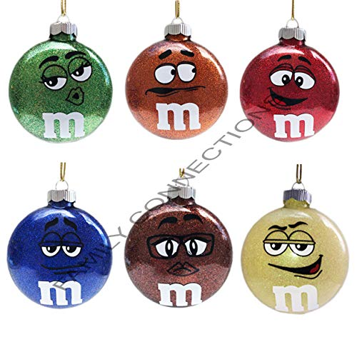 Family Connections M&M Set of 6 2.66' Round Glass Glitter Ornament Christmas Keepsake