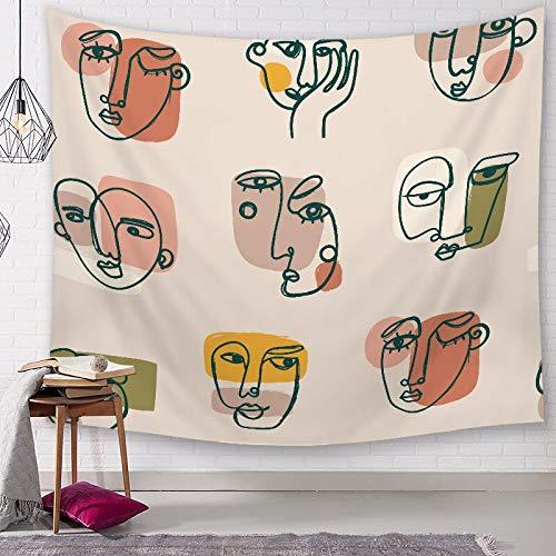 KHKJ Retrato Impresión Tapiz Colgante de Pared Estilo Abstracto Decoración del hogar Sala de Estar Alfombra Poliéster Tapiz Decorativo A19 200x180cm