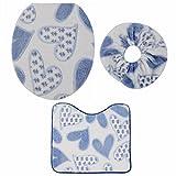 Alfombra de baño (Set de 3, teckpeak tapa de inodoro tapa cubre Pedestal Alfombrilla Baño Alfombra, Blue Hearts, 1
