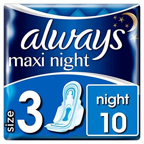 Always Maxi Night Binden Mit Flügeln, Größe3, (1 x 10Stück)