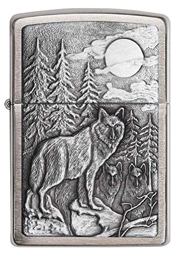 Zippo Windproof Lighter, Metal Long Lasting Zippo Lighter, Best with Zippo Lighter Fluid, Refillable Lighter, Perfect for Cigarettes Cigars Candles, Pocket Lighter Fire Starter, Wolf Collection