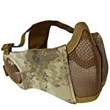 XYLUCKY Máscara de Airsoft Plegable, máscaras de Malla de Media Cara con protección auditiva para CS War Game, BB Gun, Hunting, Paintball,BK