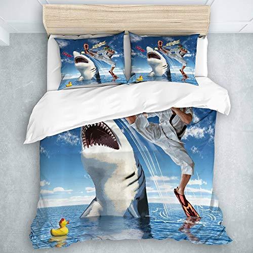 SUHETI Microfibra Juego de Cama Efectos 3 Piezas,Sealife Inusual Marine Navy Life Animals Tiburones de Pescado con Karate Kid y Comics Globo Art,1(140x200cm)+2(50x80cm)