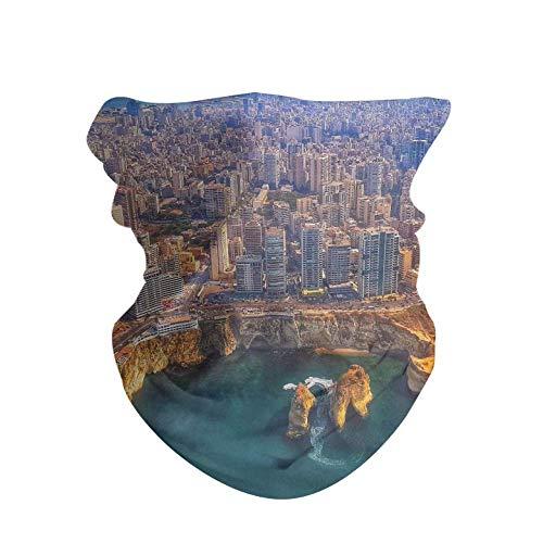 HAOZI - Juego de dos gorros unisex para la cabeza de poliéster, bufanda para el cuello, bufanda de viaje, pañuelo mágico, máscara, polainas para hombres y mujeres, color Líbano Beirut, tamaño 50 CM x 25 CM
