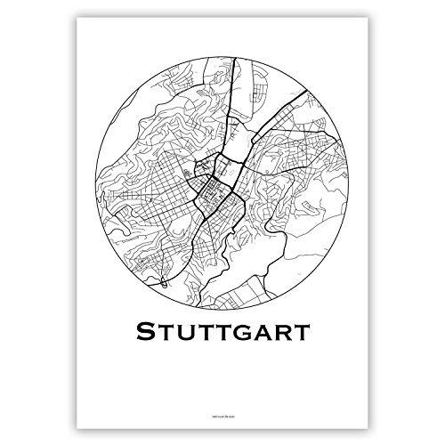 Plakat Stuttgart Deutschland Minimalist Map - Poster, City Map, Dekoration, Geschenk