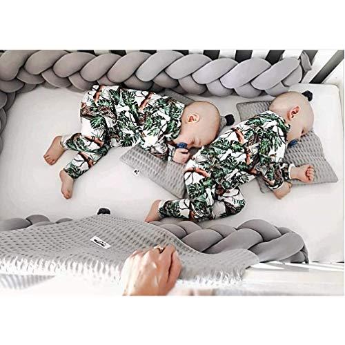 LFEWOX Babybett Bettausstattung Kantenschutz Kopfschutz Bettumrandung Weben Babybett Nestchen Geflochtene Stoßfänger Dekoration Für Krippe Kinderbett Bettschlange 4M,Grau,2m