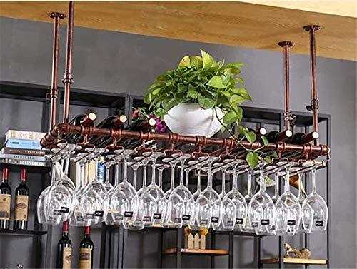 Estante De Vino Colgante Vaso De Cristal De Vidrio Tinto Creativo Home Bar En El Techo De Almacenamiento De Estante De Vino,Bronce,100 * 35cm