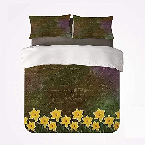 3D Bedding Set Copripiumino lenzuolo e federa Mazzi assortiti di fiori di fata in vaso di fiori di fata calligrafia scritta sotto il momento clou della famiglia di fiori del giorno Copripiumino