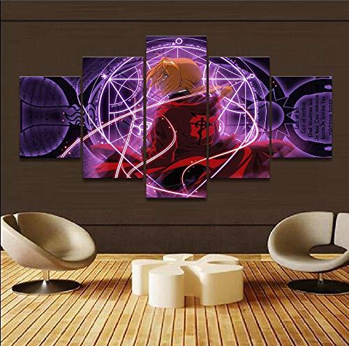 Pintura em tela, arte de parede, 5 peças, arte de parede impressa, arte de parede, arte de parede, 5 peças, anime Fullmetal Alchemist Edward Elric Home Decor Quadro de pôster DDZZYY