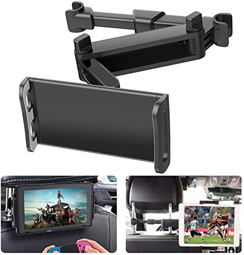 Zommuei Soporte Tablet Coche, Soporte Reposacabezas Asiento Trasero para automóvil 360° Rotación Soporte de Montaje Extensible para iPad Air Mini 2 3 4, Pad 2018 Pro 9.7, 10.5, Tableta de 4.6-10.6in