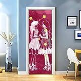 KEXIU 3D Geminis PVC fotografía adhesivo vinilo puerta pegatina cocina baño decoración mural 77x200cm