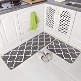 Carvapet 2 Pieces Microfiber Moroccan Trellis Non-Slip Soft Kitchen Mat Bath Rug Doormat Runner Carpet Set, 17'x48'+17'x24', Grey