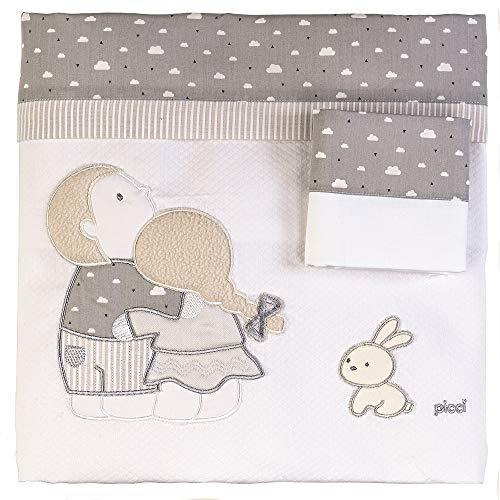 Couverture pour lit de bébé Picci Lollipop fantaisie en piqué brodé PC11471 Var 22 gris