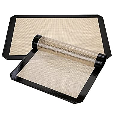 Silicone Baking Mat, Xpatee Set of 2 Silicone Baking Mat Half Sheet (Thick & Large 11 5/8  x 16 1/2 ) for Bake Pans & Rolling (Black)