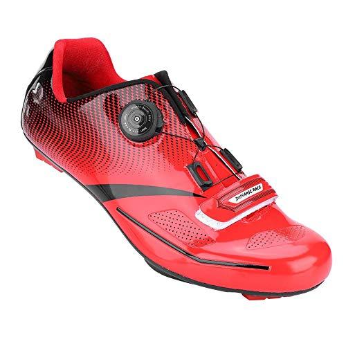 Alomejor 1 Paar Mode Radfahren Schuhe Anti-Skid SPD Lock System Radfahren Schuhe Atmungsaktiv Rennrad Schuhe Männer Erwachsene(43-Rot)