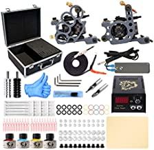Wormhole Complete Tattoo Kit for Beginners Tattoo Power Supply 4 Tattoo Ink 20 Tattoo Needles 2 Pro Tattoo Machine Guns Kit Tattoo Kit with Case(TK012)