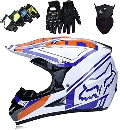 AZBYC Cascos Integrales Infantil Azul Blanco Brillante con Guantes Gafas Máscara, Aprobado Dot Conjunto Casco Motocross Motocicleta Adultos Casco Protector Offroad Dirt Bike con Diseño Fox,L