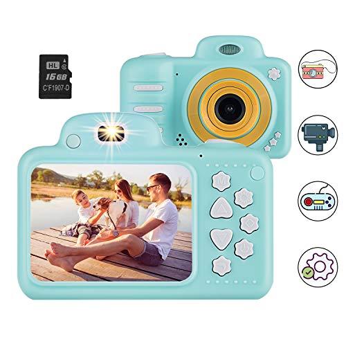 Kinderkamera Digitalkamera Kinder, Vannico Kamera für Kinder Kids Camera Selfie Kamera Videokamera 8 Megapixel mit 16G SD Karte, Geschenk für Jungen und Mädchen (Blau)