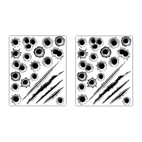 VDARK Auto Aufkleber 3D Einschusslöcher Vinyl Film Zeichen Film Versteckter Aufkleber PET Wasserdicht Reflektierend für LKW Körper Stoßstange Vorne Hinten Tür Kofferraum Kit Pac 2 Stuck (Sticker-BB)
