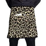 Katrine Store Grembiuli da Cuoco Unisex con Disegno a Stampa Leopardo di Moda e Mezza Vita con Grembiuli Corti da Cucina tascabili