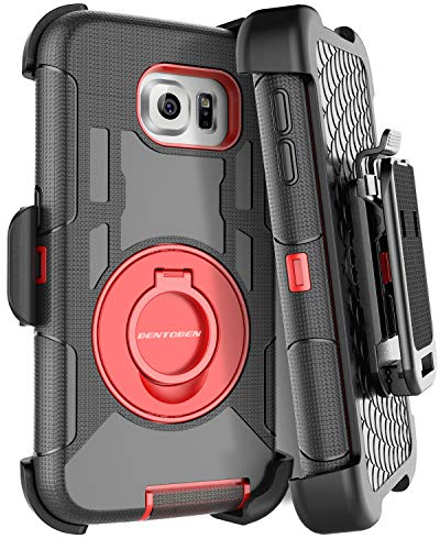 BENTOBEN Galaxy S6 Edge Plus Case, Dual Layer Shockproof Heavy Duty Rugged with Kickstand Belt Clip Holster Hybrid Silicone Phone Full Body Protective Cover for Samsung S6 Edge Plus, Black/Red