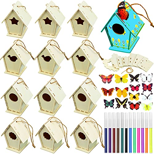 12 Wooden Birdhouse DIY Kits Include 12 Pieces 4 Shapes Wooden Unfinished Paintable Bird House with 12 Colour Watercolour Pen and 19 Stereoscopic Butterfly Sticker for Boy Girl Crafting and Decorating