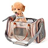 PETTOM Transportín Perro Gato Plegable con Tira Reflectante Parte Inferior Acolchada y Rigido Pet Carrier Impermeable Transpirable para Pequeños Mascota Viajes Avion Coche o Tren Camello