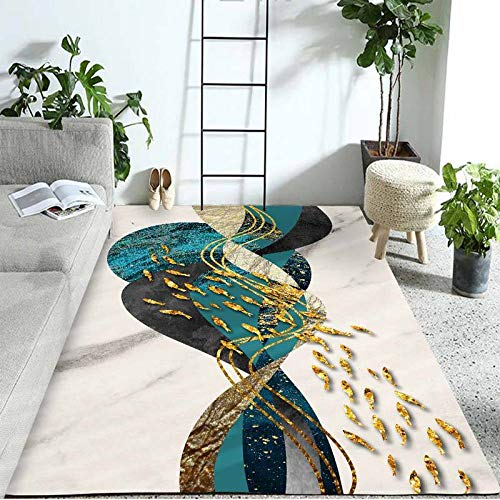 HXJHWB traditional Living Room Rug Area carpet - Creative small fish school rectangular carpet modern indoor durable home accessories-140CMx200CM