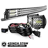 42' LED Light Bar Curved Triple Row 576W Light Bars Off Road Lights 2pc 4inch 60W Driving Fog Lamps with Rocker Switch Harness Wiring for Trucks Polaris ATV UTV Jeep Boats
