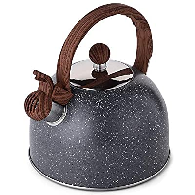 Tea Kettle, VONIKI 2.5 Quart Tea Kettles Stovetop Whistling Teapot Stainless Steel Tea Pots for Stove Top Whistle Tea Pot With Wooden Patterned Handle Teakettle Warm Christmas Gifts Grey