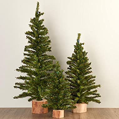 Factory Direct Craft Assorted Size Artificial Canadian Pine Trees with Wood Bases for Holiday and Home Decor - 3 Trees
