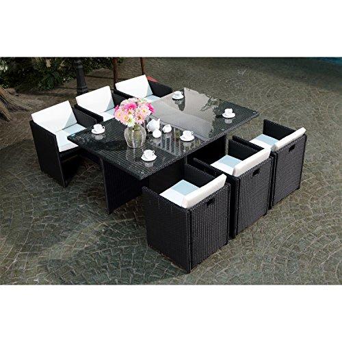 CONCEPT USINE - Salon De Jardin Miami 6 Personnes en Résine Tressée Noir Poly Rotin - 1 Table en Verre - 6 Fauteuils - Coussins Blanc - Encastrable, Résistant, Imperméable