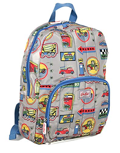 Cath Kidston Large Lightweight Quilted Backpack Rucksack Garage Signs in Light Grey Polyester