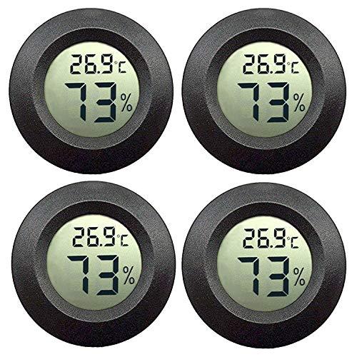 JEDEW Hygrometer Thermometer Digital LCD-Monitor für Keller Feuchtigkeits-Messgerät, für Luftentfeuchter der humidifiers babyroom Gewächshaus Zigarre (schwarz-4 Pack)