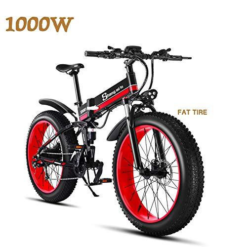 Shengmilo MX01 Freno a Disco Idraulico da Mountain Bike Elettrico da 1000W con Batteria da 21Speeds 13AH (Nero (1 Batteria))