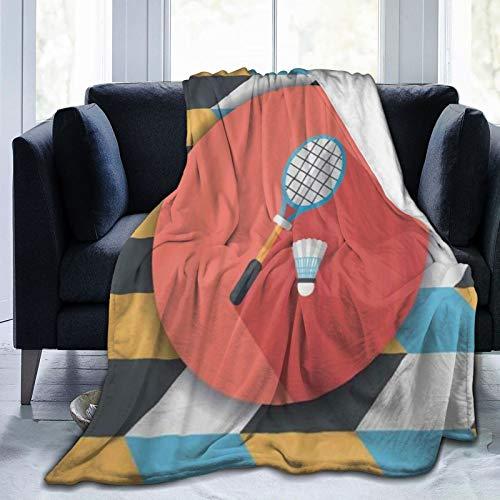 QIUTIANXIU Mantas para Sofás de Franela 150x200cm Icono Plano de Raqueta y Bola de bádminton con Sombra Manta para Cama Extra Suave
