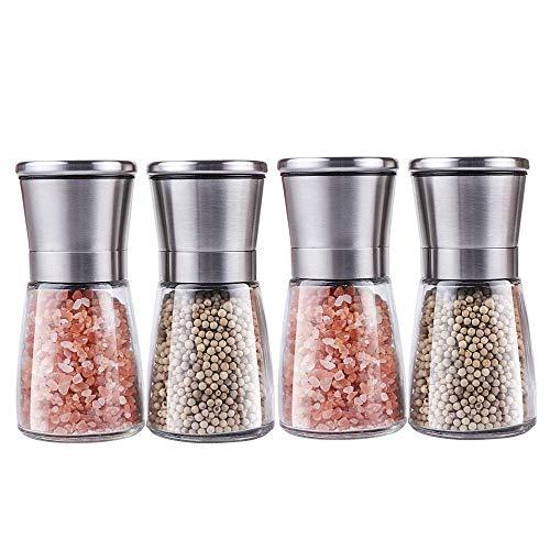 Premium Stainless Steel Salt and Pepper Grinder Set(4 items) – Pepper Mill and Salt Mill, Spice Grinder with Adjustable Coarseness, Ceramic Rotor