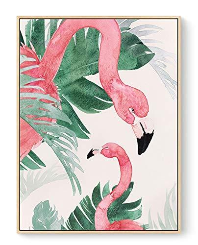 SDFSD Flamingo Red Bird Cartoon Tier Grenn Blätter Pflanzen Malerei Kinderzimmer Kinderzimmer Home Decor Wandkunst Poster Leinwand Malerei 40 * 50cm