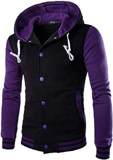 QianQian-AU Men Sweatshirt Hoodie Varsity Baseball Cotton Hooded Jacket
