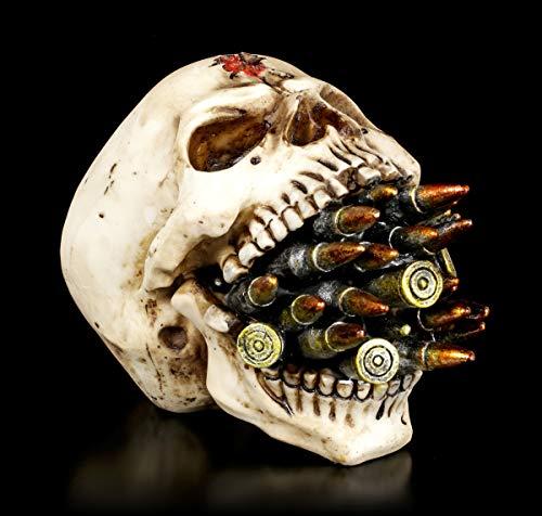 Figuren Shop GmbH Gothic Totenkopf - Bite The Bullet | Fantasy Skull Toten-Schädel Statue Kopf-Skulptur, H 11 cm