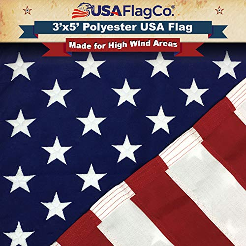 USA Flag Co. 3x5 Polyester US Flag - Embroidered Stars and Sewn Stripes withstands Harsh Wind, Sun, Dirt, and Moisture Areas. Made in The USA